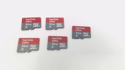 Lot of Five - 32GB Micro SD Memory Cards (Sandisk Ultra)