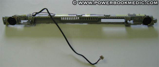 Powerbook G4 12  Speaker Assembly This is a used speaker assembly and stiffner for the Apple Powerbook G4 12  models. This includes both the left and right hand speaker.