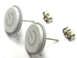 White Macbook Power Button Earrings