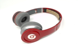 Beats Solo HD Glossy Red WIRED Headphones- NO INNER RUBBER HEADBAND/AUDIO CORD